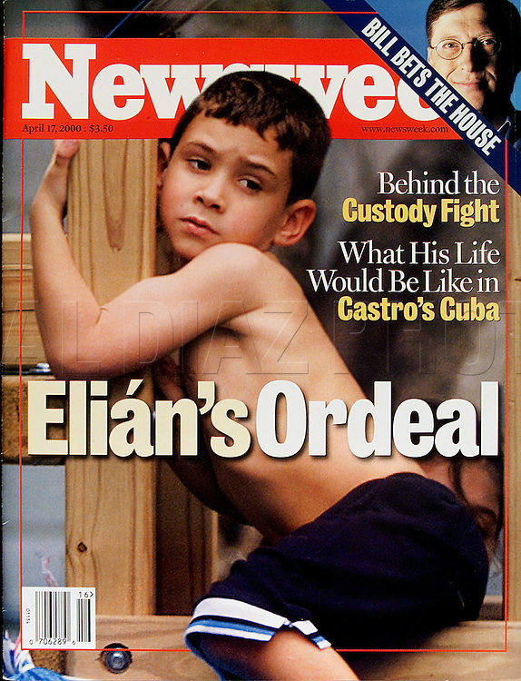 4/13/00 Al Diaz/Herald Staff--Elian Gonzalez,6,  on the cover of Newsweek photographed by Miami Herald photographer Al Diaz. Elian is in the middle of an international custody dispute between his Miami family and his family in Cuba. The boy was rescued at sea floating on an innertube on thanksgiving day. His mother and several others died in the ill fated trip during their exodus from Cuba.