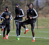 Pictured: Bafetimbi Gomis Thursday 25 February<br /> Re: Swansea City FC training at Fairwood, near Swansea, Wales, UK, ahead of their game against Tottenham Hotspur.