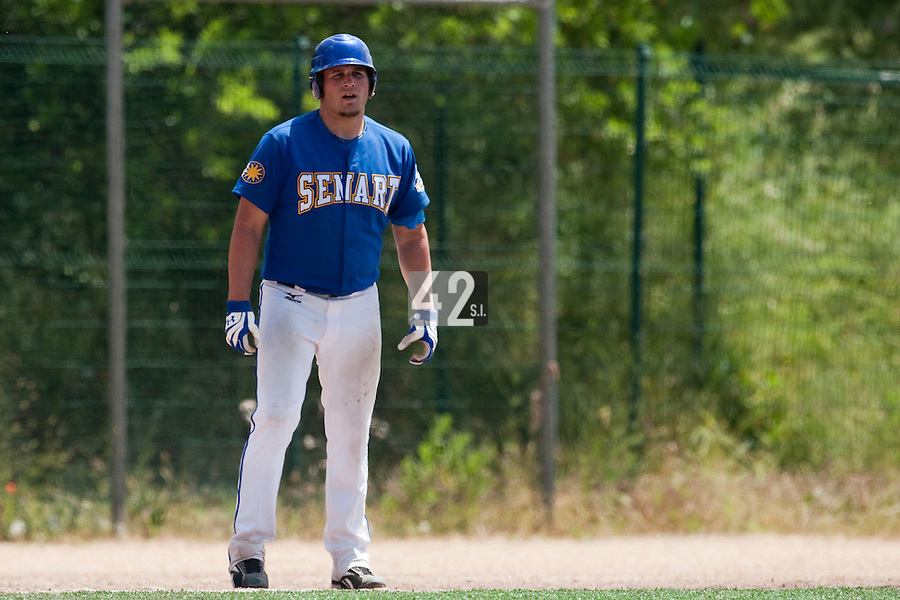 24 May 2009: Rhett Teller of Senart is seen next to third base during the 2009 challenge de France, a tournament with the best French baseball teams - all eight elite league clubs - to determine a spot in the European Cup next year, at Montpellier, France. Senart wins 8-5 over La Guerche.