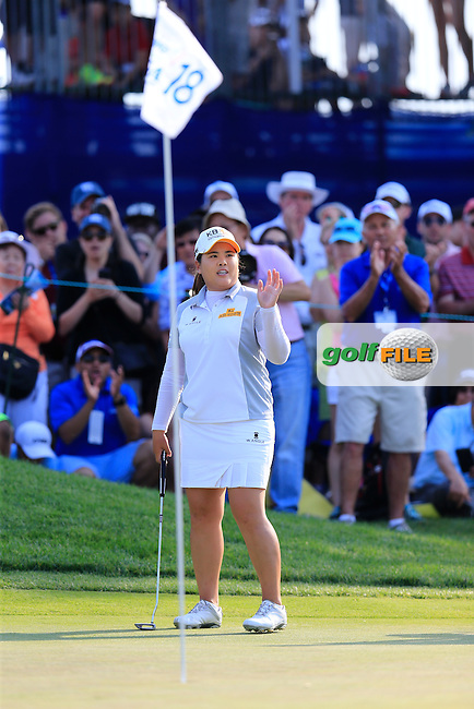 Inbee Park (KOR) walks onto the 18th green during Sunday's Final Round of the 2015 KPMG Women's PGA Championship held at Westchester Country Club, Harrison, New York, USA. 6/14/2015.<br /> Picture &copy; Golffile/Eoin Clarke