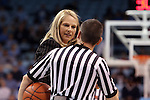 05 January 2014: Maryland head coach Brenda Frese (left) talks to referee Joseph Vaszily. The University of North Carolina Tar Heels played the University of Maryland Terrapins in an NCAA Division I women's basketball game at Carmichael Arena in Chapel Hill, North Carolina. Maryland won the game 79-70.