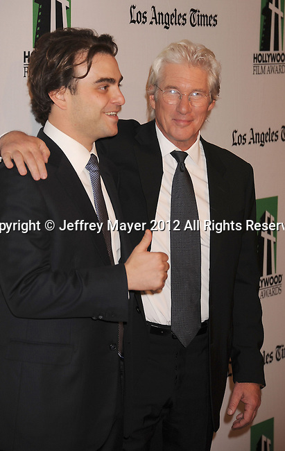 BEVERLY HILLS, CA - OCTOBER 22: Nicholas Jarecki and Richard Gere arrive at the 16th Annual Hollywood Film Awards Gala presented by The Los Angeles Times held at The Beverly Hilton Hotel on October 22, 2012 in Beverly Hills, California.