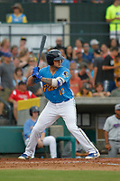 Myrtle Beach Pelicans infielder Tyler Alamo (13) at bat during a game against the Winston Salem Dash at Ticketreturn.com Field at Pelicans Ballpark on July 22, 2018 in Myrtle Beach, South Carolina. Winston-Salem defeated Myrtle Beach 7-2. (Robert Gurganus/Four Seam Images)