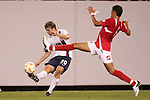 13 March 2008: Eddie Gaven (USA) (20) passes the ball in front of Eric Vasquez (PAN) (6). The United States U-23 Men's National Team defeated the Panama U-23 Men's National Team 1-0 at Raymond James Stadium in Tampa, FL in a Group A game during the 2008 CONCACAF's Men's Olympic Qualifying Tournament.