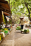 VIETNAM, Hanoi, a street scene of a woman walking down the street selling her produce