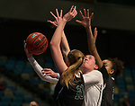 Idaho's Geraldine McCorkell shoots over Portland State's defense in a women's Big Sky Tournament semi-final game held at the Reno Events Center on Friday, March 9, 2018 in Reno, Nevada.