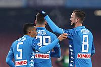 Fabian Ruiz of Napoli celebrates after scoring a goal with Allan <br /> Napoli 13-01-2019  Stadio San Paolo <br /> Football Calcio Coppa Italia 2018/2019 round of 16  <br /> Napoli - Sassuolo<br /> Foto Cesare Purini / Insidefoto