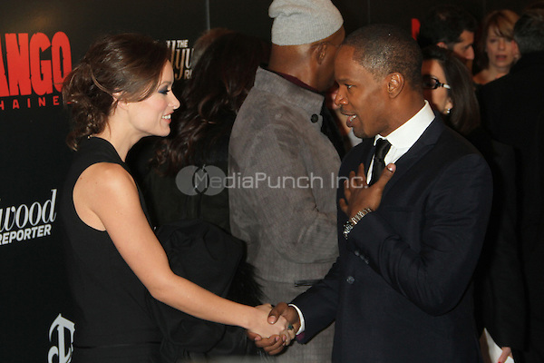 NEW YORK, NY - DECEMBER 11: Olivia Wilde and Jamie Foxx at the Screening Of 'Django Unchained' at  the Ziegfeld Theater on December 11, 2012 in New York City.Credit: RW/MediaPunch Inc.