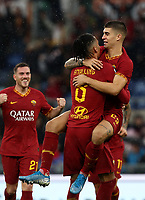 Football, Serie A: AS Roma - Brescia FC, Olympic stadium, Rome, November 24, 2019. <br /> Roma's Chris Smalling (l) celebrates after scoring with his teammate Gianluca Mancini (r) during the Italian Serie A football match between Roma and Brescia at Olympic stadium in Rome, on November 24, 2019. <br /> UPDATE IMAGES PRESS/Isabella Bonotto