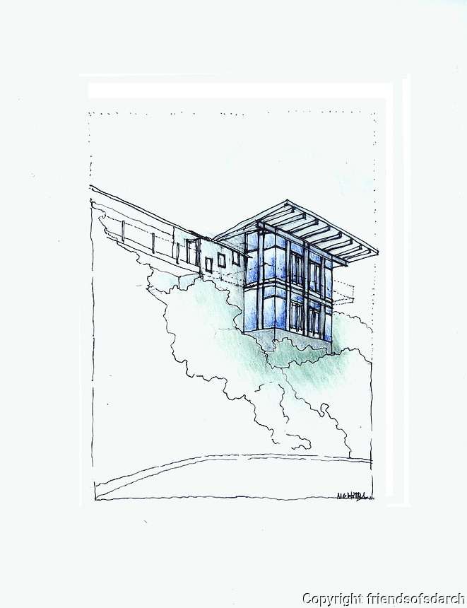 Sketch of Point Loma House, 2007. Remodel and addition to a 1950's Sunset Cliff house. Designed by Michele Grace Hottel, Architect, to take advantage of ocean view.
