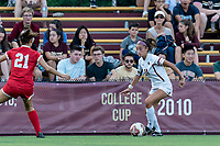 NEWTON, MA - AUGUST 29: Mia Karras #24 of Boston College looks to pass during a game between Boston University and Boston College at Newton Campus Field on August 29, 2019 in Newton, Massachusetts.