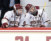 Ryan Fitzgerald (BC - 19), Austin Cangelosi (BC - 9) - The visiting University of Vermont Catamounts tied the Boston College Eagles 2-2 on Saturday, February 18, 2017, Boston College's senior night at Kelley Rink in Conte Forum in Chestnut Hill, Massachusetts.Vermont and BC tied 2-2 on Saturday, February 18, 2017, Boston College's senior night at Kelley Rink in Conte Forum in Chestnut Hill, Massachusetts.