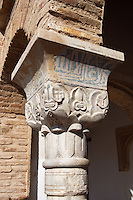 Detail of Capital, The Generalife, 13th century, redecorated by the king Abu I-Walid Isma'il (1313-1324), The Alhambra, Granada, Andalusia, Spain. Picture by Manuel Cohen