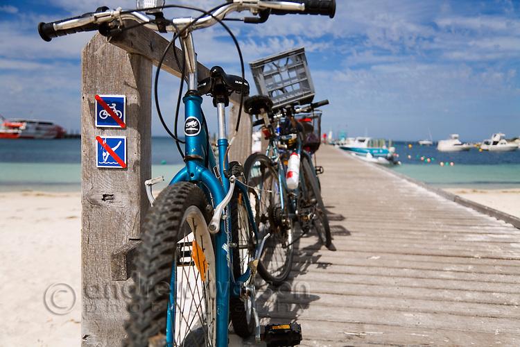 Bicycles on the pier at Thomson Bay.  Rottnest Island, Western Australia, AUSTRALIA.