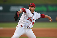 Starting pitcher Angel Padron (33) of the Greenville Drive delivers a pitch during a game against the Hickory Crawdads on Monday, August 20, 2018, at Fluor Field at the West End in Greenville, South Carolina. Hickory won, 11-2. (Tom Priddy/Four Seam Images)