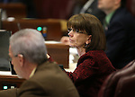 Nevada Assemblywoman Robin Titus, R-Wellington, works on the Assembly floor at the Legislative Building in Carson City, Nev., on Tuesday, April 21, 2015. <br /> Photo by Cathleen Allison