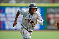 Lakeland Flying Tigers center fielder Jose Azocar (10) running the bases during the first game of a doubleheader against the Clearwater Threshers on June 14, 2017 at Spectrum Field in Clearwater, Florida.  Lakeland defeated Clearwater 5-1.  (Mike Janes/Four Seam Images)