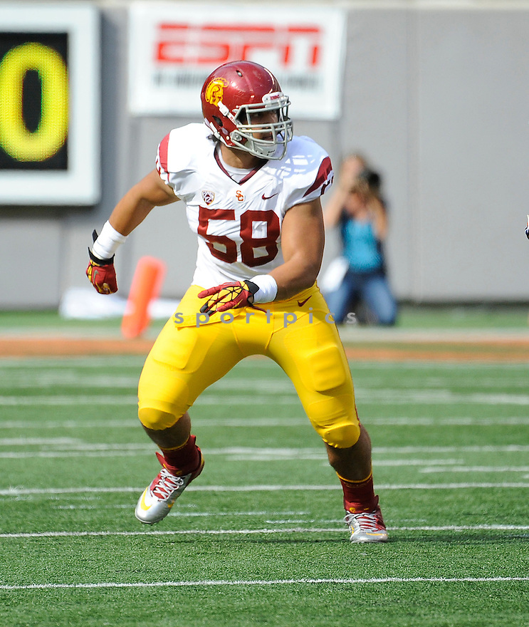 USC Trojans J.R. Tavai (58) in action during a game against the Syracuse Orange on September 8, 2012 at MetLife Stadium in East Rutherford, NJ. USC beat Syracuse 42-29.