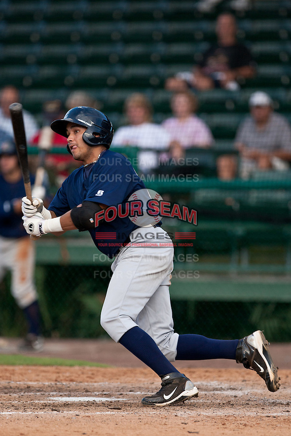 Juan Sanchez of the Brevard County Manatees during the game at Jackie Robinson Ballpark in Daytona Beach, Florida on August 23, 2010. Photo By Scott Jontes/Four Seam Images