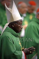 Burkina Faso cardinal Philippe Nakellentuba Ouedraogo ,Pope Francis  during  the mass New Cardinals in  St. Peter's Basilica at the Vatican on February 23, 2014
