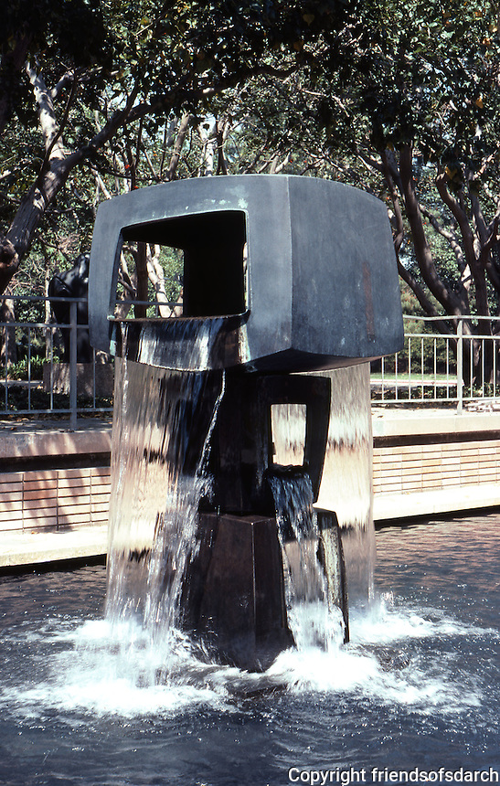 Los Angeles: Malcolm Hall, UCLA--fountain sculpture. George Tsutakawa, 1969. Photo '84.