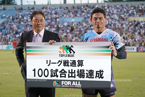 (L-R)  Katsuyuki Kiyomiya, Ayumu Goromaru (), SEPTEMBER 2, 2017 - Rugby : Japan Rugby Top League 2017-2018 match between Suntory Sungoliath 27-24 Yamaha Jubilo at Prince Chichibu Memorial Stadium in Tokyo, Japan. (Photo by FAR EAST PRESS/AFLO)