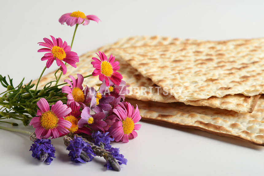 Jewish passover matzoh and flowers