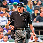 16 September 2017: MLB Umpire Gerry Davis works home plate during a game between the Colorado Rockies and the San Diego Padres at Coors Field in Denver, Colorado. The Rockies shut out the Padres in a 16-0 route of the second game in their 3-game divisional series. Mandatory Credit: Ed Wolfstein Photo *** RAW (NEF) Image File Available ***