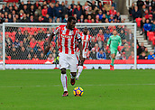 4th November 2017, bet365 Stadium, Stoke-on-Trent, England; EPL Premier League football, Stoke City versus Leicester City; Mame Biram Diouf of Stoke City moves the ball into attack