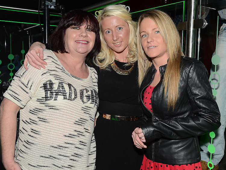 Carmel McVarthy and Samantha and Nicola Grennan  pictured at the benefit night for DJ Tayo Sheridan in Galaxy Night Club. Photo:Colin Bell/pressphotos.ie