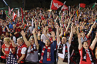 Portland, Oregon - Saturday July 2, 2016: Thorns supporters celebrate the during a regular season National Women's Soccer League (NWSL) match at Providence Park.