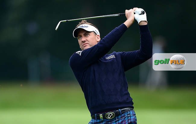 Ian Poulter of England in action during Round 4 of the 2015 British Masters at the Marquess Course, Woburn, in Bedfordshire, England on 11/10/15.<br /> Picture: Richard Martin-Roberts | Golffile