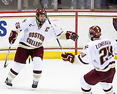 Matt Price (BC - 25), Matt Lombardi (BC - 24) - The Boston College Eagles defeated the Merrimack College Warriors 7-0 on Tuesday, February 23, 2010 at Conte Forum in Chestnut Hill, Massachusetts.