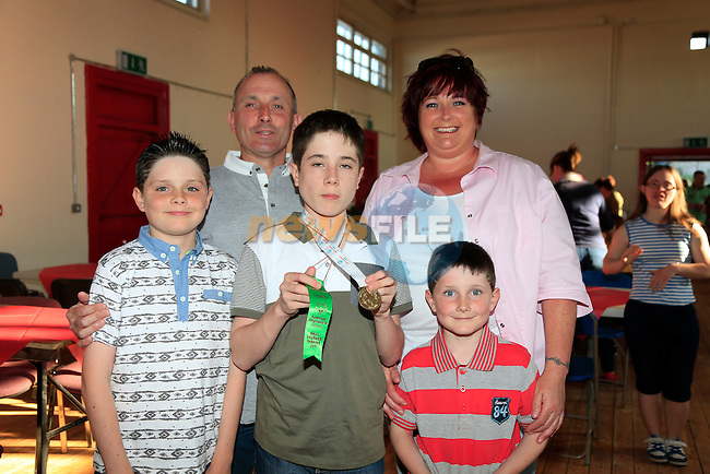 Shaun Mallon with Owen Joshua, Susan and Martin at the welcome home party for the Drogheda Special Olympics team.<br /> Picture:  www.newsfile.ie