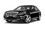 Stock pictures of low aggressive front three quarter view of a 2015 Mercedes Benz E-Class E250 BlueTEC Luxury 4 Door Sedan