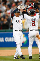 Alex Rodriguez and Derek Jeter of the USA during the World Baseball Championships at Angel Stadium in Anaheim,California on March 12, 2006. Photo by Larry Goren/Four Seam Images
