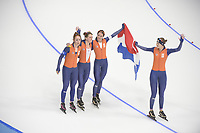 OLYMPIC GAMES: PYEONGCHANG: 21-02-2018, Gangneung Oval, Long Track, Team Pursuit Ladies, Team Netherlands, Silver Medalists, Antoinette de Jong, Ireen Wüst, Marrit Leenstra, Lotte van Beek, ©photo Martin de Jong