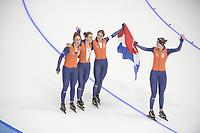 OLYMPIC GAMES: PYEONGCHANG: 21-02-2018, Gangneung Oval, Long Track, Team Pursuit Ladies, Team Netherlands, Silver Medalists, Antoinette de Jong, Ireen Wüst, Marrit Leenstra, Lotte van Beek, ©photo Martin de Jong
