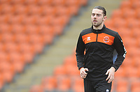 Blackpool's Antony Evans during the pre-match warm-up <br /> <br /> Photographer Kevin Barnes/CameraSport<br /> <br /> The EFL Sky Bet League One - Blackpool v Oxford United - Saturday 23rd February 2019 - Bloomfield Road - Blackpool<br /> <br /> World Copyright © 2019 CameraSport. All rights reserved. 43 Linden Ave. Countesthorpe. Leicester. England. LE8 5PG - Tel: +44 (0) 116 277 4147 - admin@camerasport.com - www.camerasport.com