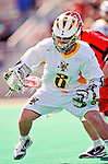 19 March 2011: University of Vermont Catamount Attacker Josh Aronson, a Sophomore from Lutherville, MD, in action against the St. John's University Red Storm at Moulton Winder Field in Burlington, Vermont. The Catamounts defeated the visiting Red Storm 14-9. Mandatory Credit: Ed Wolfstein Photo
