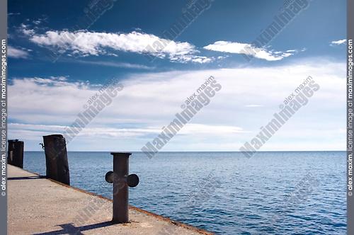 Old empty pier The Black Sea The Crimea Ukraine Eastern Europe