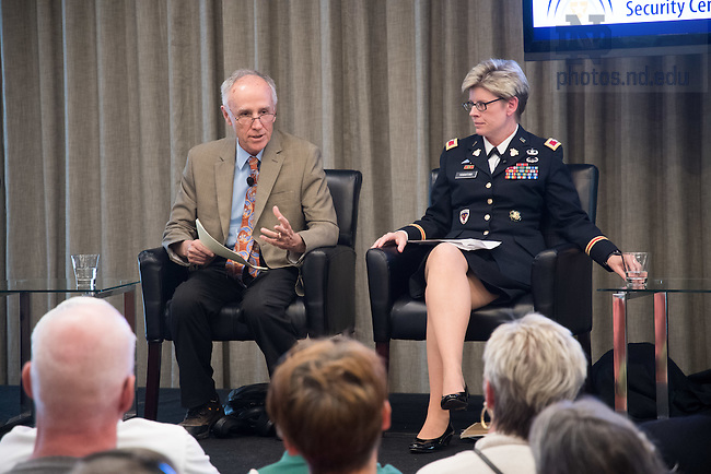 """November 11, 2016; Shamrock Series panel discussion: """"God, Country, Notre Dame: Reflections on National Security Leadership & Conflict Prevention after 2016.' (Photo by Matt Cashore/University of Notre Dame)"""