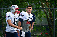August 3, 2017: New England Patriots punter Ryan Allen (6) and left safety Joe Cardona (49) walk to practice at the New England Patriots training camp held at Gillette Stadium, in Foxborough, Massachusetts. Eric Canha/CSM