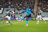 Amari'i Bell of Fleetwood Town shoots at goal during the Sky Bet League 1 match between Plymouth Argyle and Fleetwood Town at Home Park, Plymouth, England on 7 October 2017. Photo by Mark  Hawkins / PRiME Media Images.