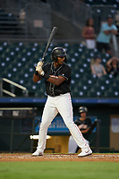 Jupiter Hammerheads Jerar Encarnacion (45) at bat during a Florida State League game against the Lakeland Flying Tigers on August 12, 2019 at Roger Dean Chevrolet Stadium in Jupiter, Florida.  Jupiter defeated Lakeland 9-3.  (Mike Janes/Four Seam Images)