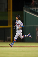 Scottsdale Scorpions shortstop Andres Gimenez (13), of the New York Mets organization, rounds the bases after hitting a home run during an Arizona Fall League game against the Mesa Solar Sox at Sloan Park on October 10, 2018 in Mesa, Arizona. Scottsdale defeated Mesa 10-3. (Zachary Lucy/Four Seam Images)