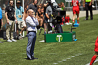 Portland, OR - Saturday July 15, 2017: Paul Riley during a regular season National Women's Soccer League (NWSL) match between the Portland Thorns FC and the North Carolina Courage at Providence Park.