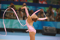 August 22, 2008; Beijing, China; Rhythmic gymnast Evgenia Kanaeva of Russia expresses with ribbon on way to winning gold in the All-Around final at 2008 Beijing Olympics..(©) Copyright 2008 Tom Theobald