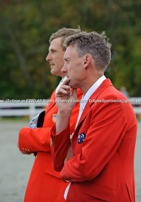 Boyd Martin (USA)  watches nervously the final rider Jan Byyny along Peter Akins (AUS), Boyd Wins the CCI 3* Dansko  at  Fair Hill International in Fair Hill, MD  on 10/16/11.  (Ryan Lasek / Eclipse Sportwire)