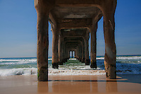Manhattan beach pier in a classic summer day.